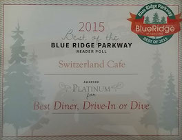 2015 Blue Ridge Parkway Magazine Reader Poll Award Switzerland Cafe Best Diner Drive-in or Dive