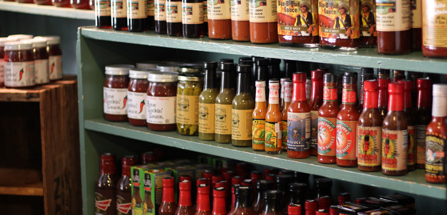 the switzerland cafe hot sauce selection is huge